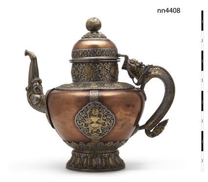 nn4408, ritual teapot, Anthropology,copper; silver; gilding