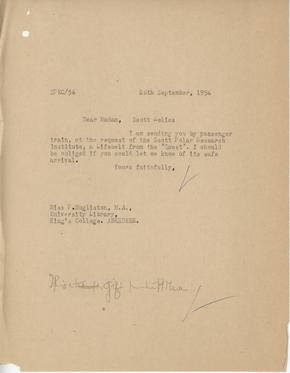 Letter by Otto Samson to P. Mugliston, regarding the despatch of Captain Scott relics,  Archive, paper