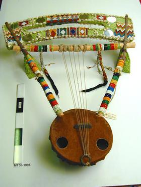 lyre; rababa,  Musical Instruments, MIR; vegetable fibre; leather; fur; animal fibre; shell; beads; wood; textile