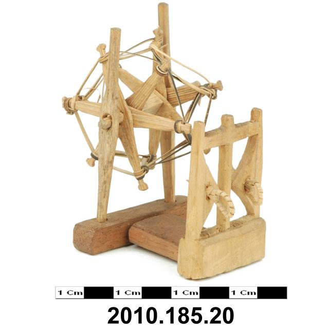 miniature spinning wheel; model house