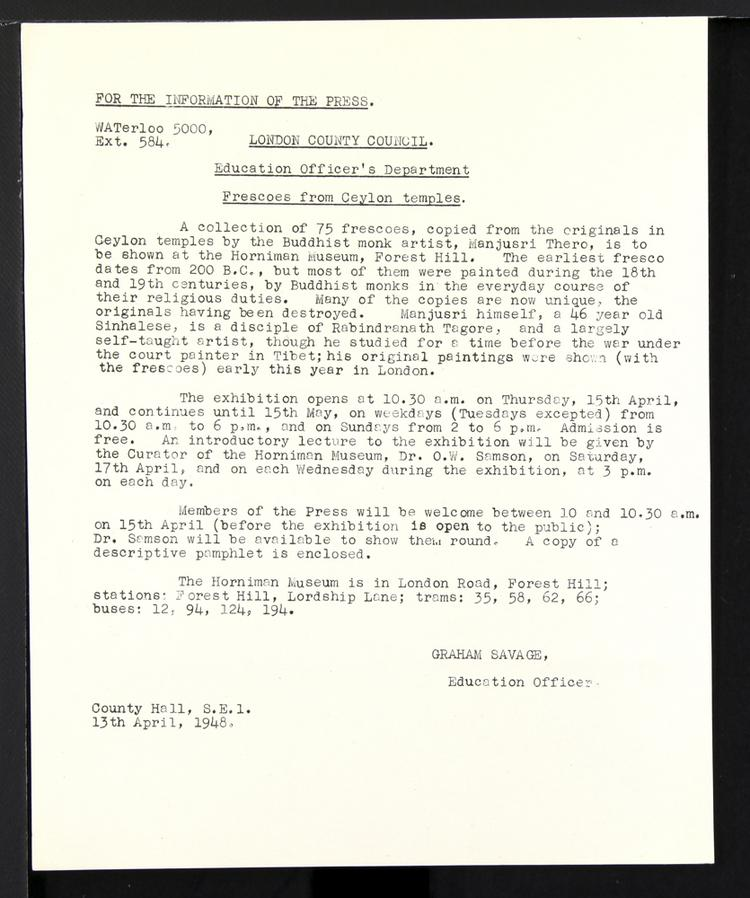 General view of object no. ARC/HMG/EXH/1948/001/001.