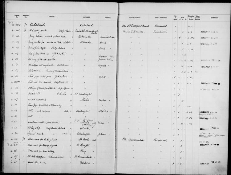 General view of page with entries for object nos 4.44 - 4.68 (1904) from 1901-1909 accessions register (ethnography, including musical instruments), object no. ARC/HMG/CM/001/003.