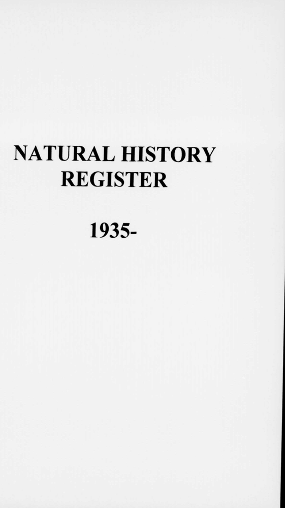 General view of microfilm cover page from 1935-2002 natural history accessions register, object no. ARC/HMG/CM/001/017.