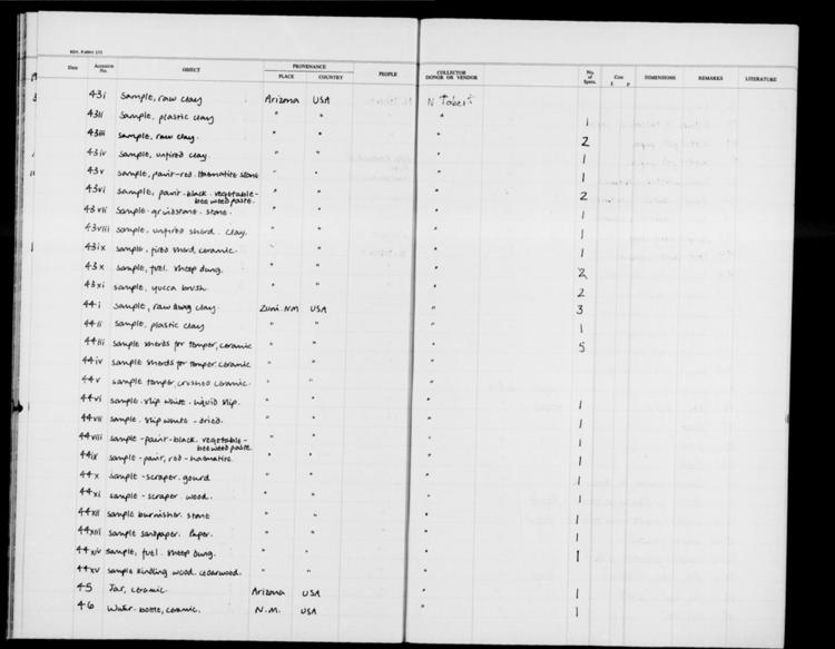 General view of page with entries for object nos 1993.43 - 1993.46 (February 1993) from 1991-1996 ethnography accessions register, object no. ARC/HMG/CM/001/014.