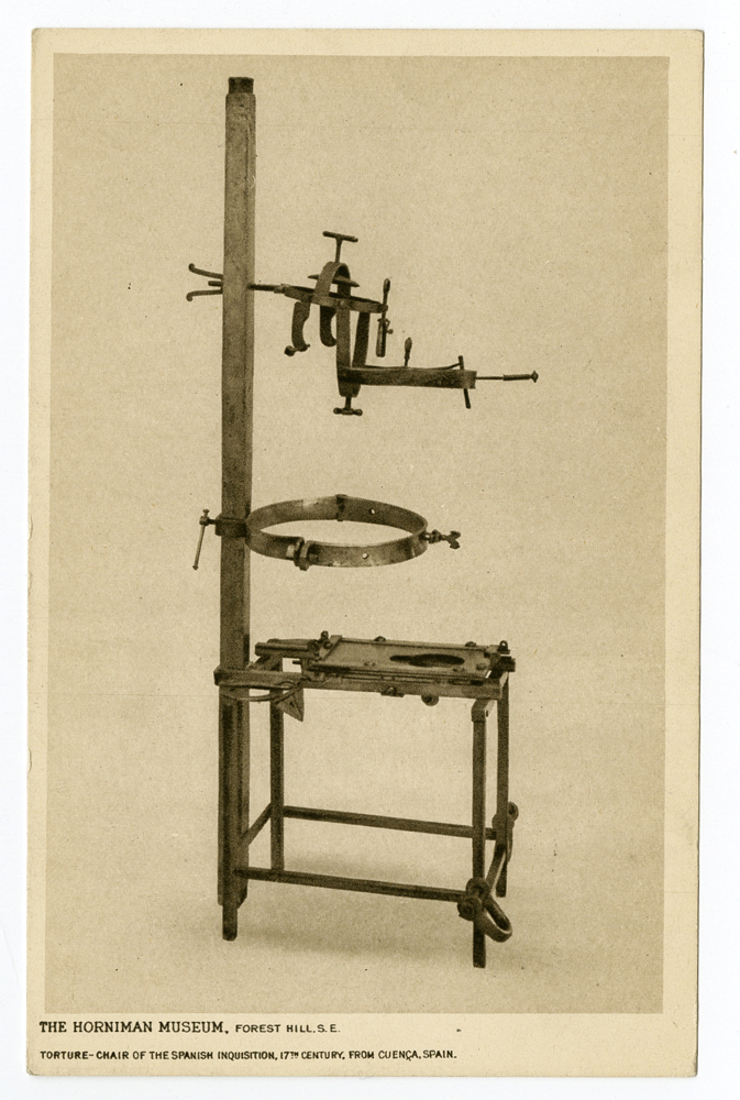 Postcard: Torture chair of Spanish Inquisition