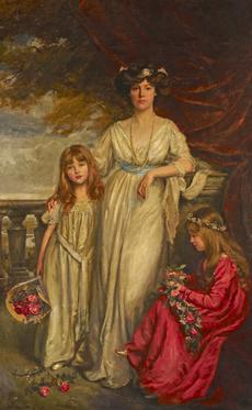 General view of Horniman Musuem object no. nn19023, a portrait of Minnie Horniman and her daughters Minifred Louise and Erica by Arthur Garratt.