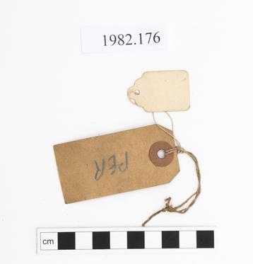Rear view of label of Horniman Museum object no 1982.176