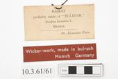General view of label of Horniman Museum object no 10.3.61/61