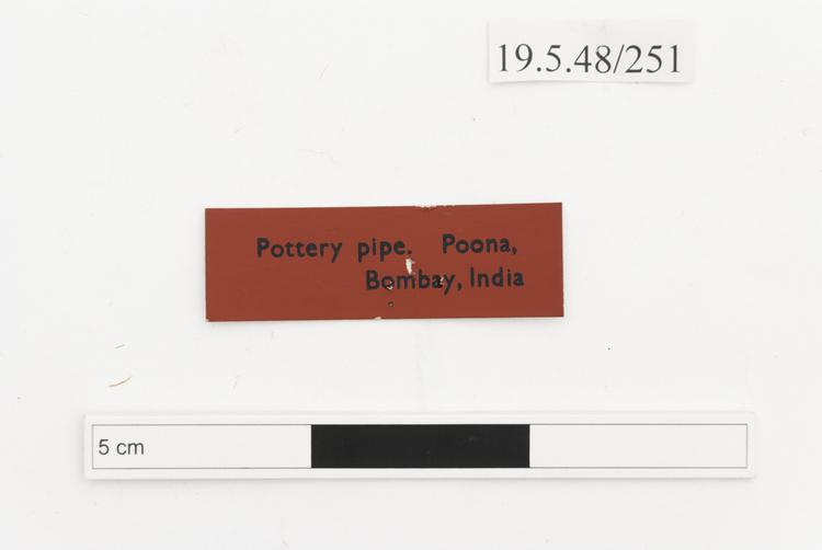General view of label of Horniman Museum object no 19.5.48/251