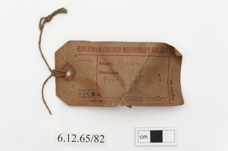 General view of label of Horniman Museum object no 6.12.65/82