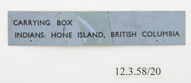 General of label of Horniman Museum object no 12.3.58/20