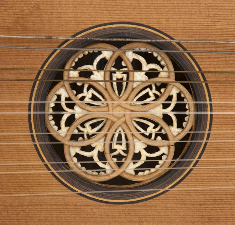 Detail of decorated sound hole of Horniman Museum object no M36-1983