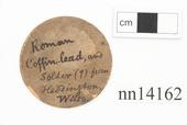 General view of label of Horniman Museum object no nn14162