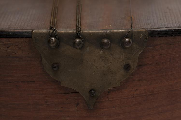 Detail of string end pins and tailpiece of Horniman Museum object no 2012.131