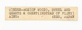 General view of label of Horniman Museum object no 10.256