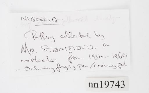 Frontal view of label of Horniman Museum object no nn19743