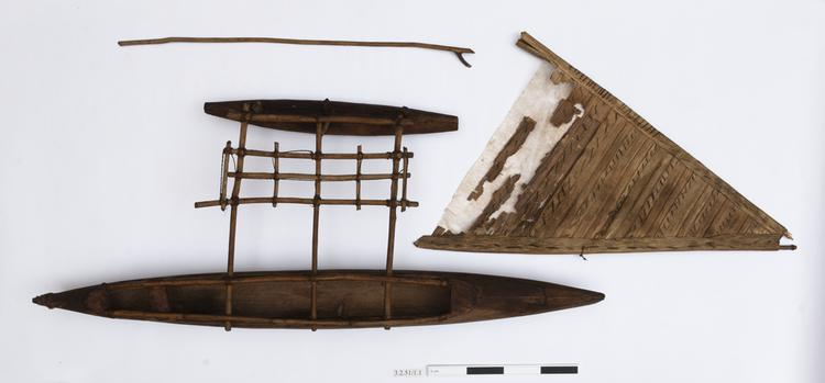 dugout with single outrigger (dugout canoe model)