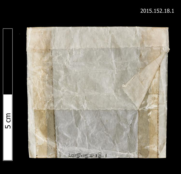 General view of envelope for spare string of Horniman Museum object no 2015.152.18.1
