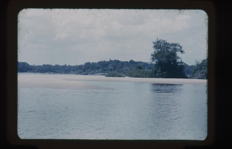 Colour slide looking across a wide river
