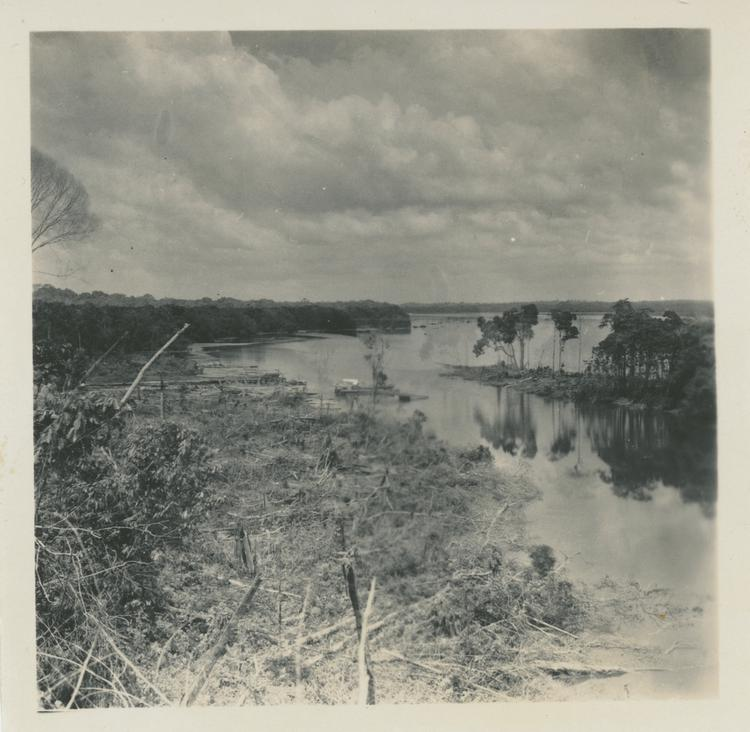 Black and white print of a river