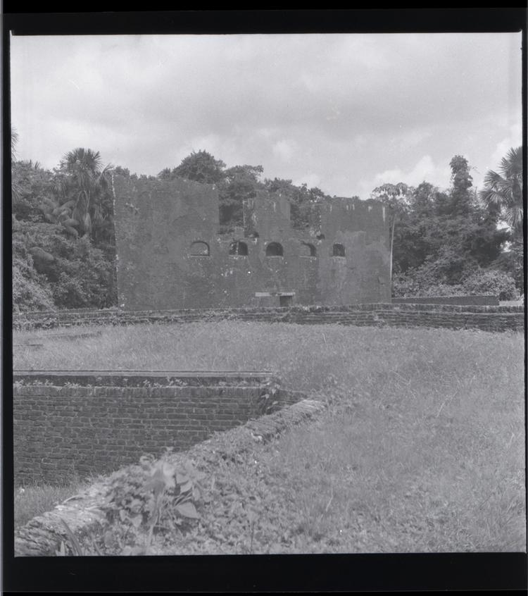 Black and white medium format negative of fort