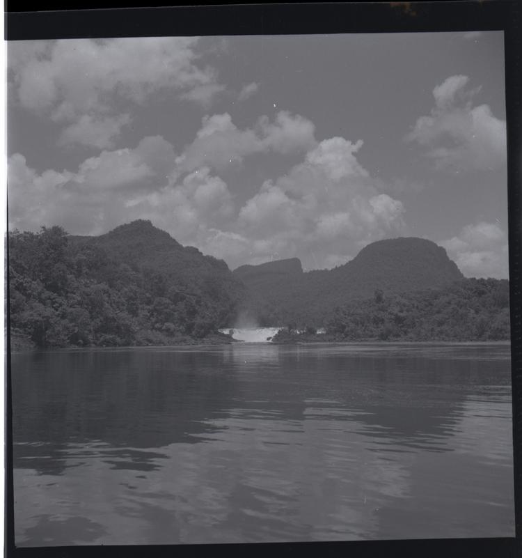 Black and white medium format negative of view from river