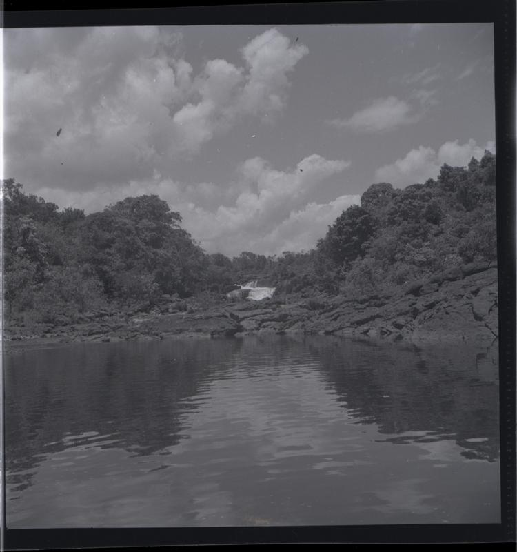 Black and white medium format negative of river view