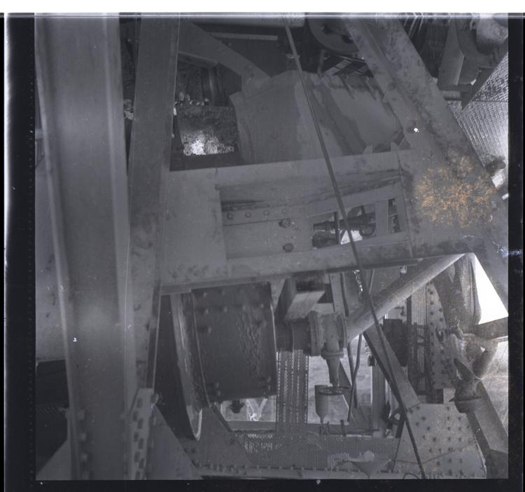 Black and white medium format negative of Close up of machinery
