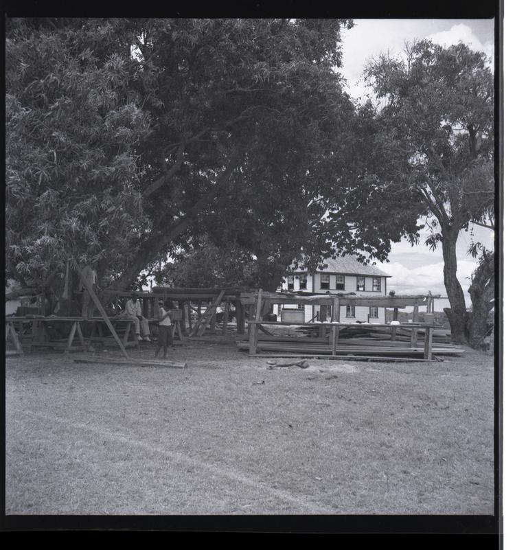 Black and white medium format negative of two storey building behind a wooden structure and trees