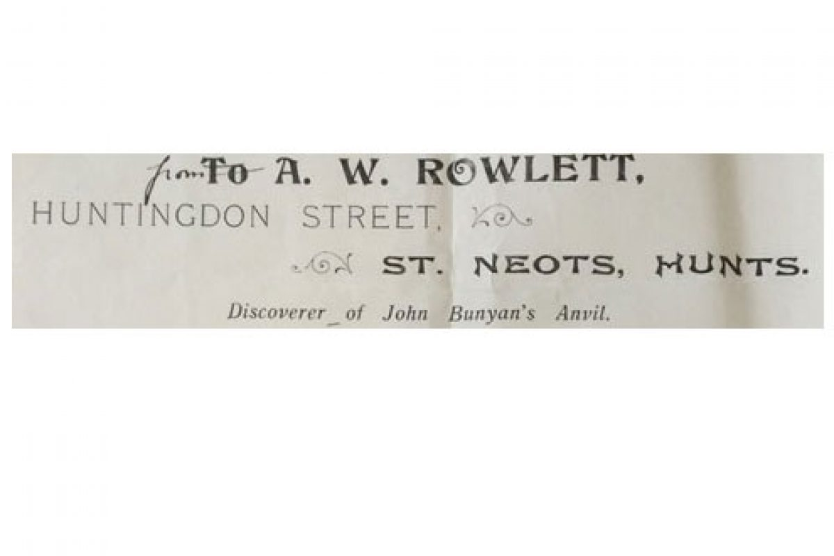 A paper sliver showing the letterhead of a man called AW Rowlett with an address in St Neots