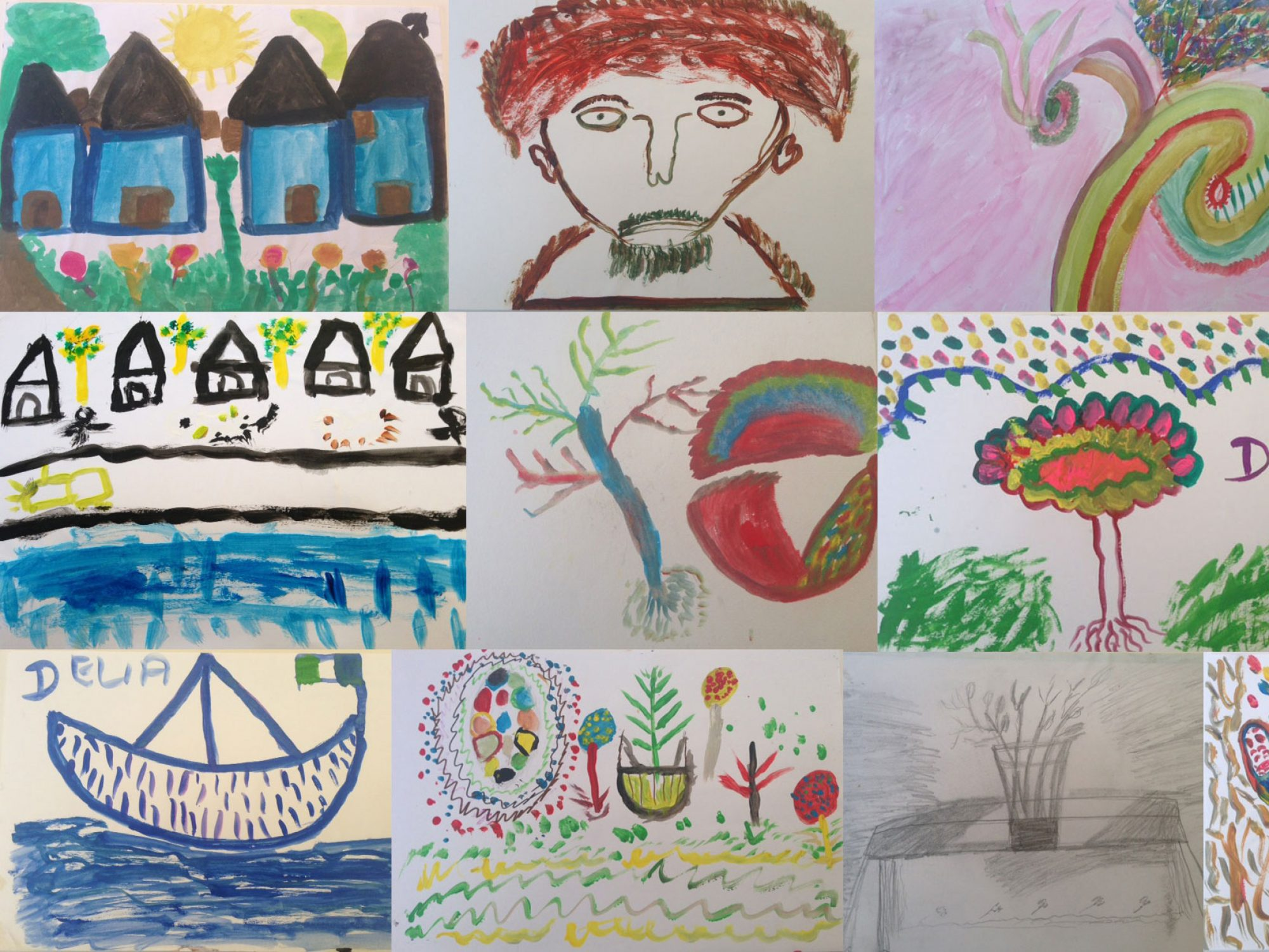 A collage of many smaller drawings created with bright paints of faces, houses, animals and plants