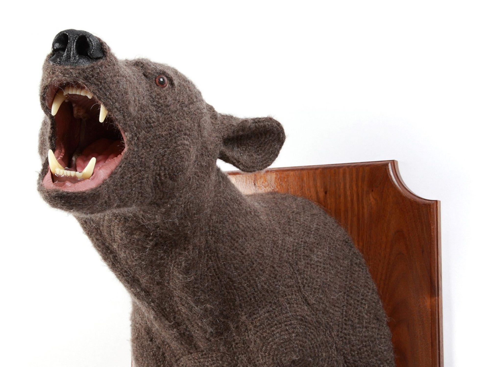 Crotchet sculpture of bear