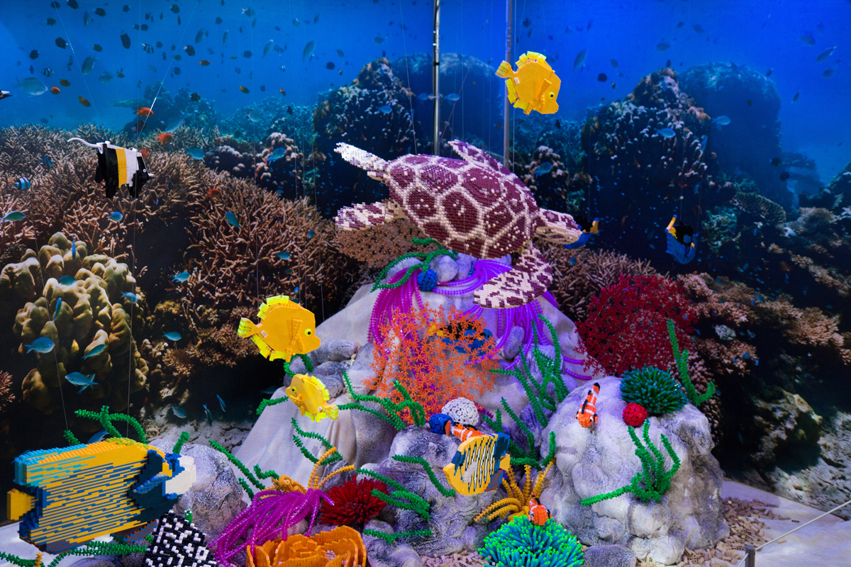 Barrier reef made from Lego.