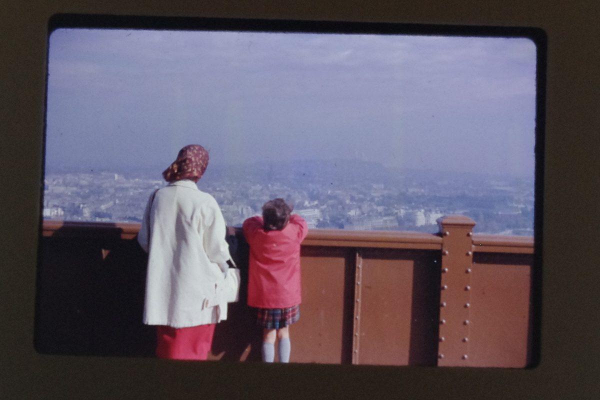 Photograph of woman and child looking at at city horizon