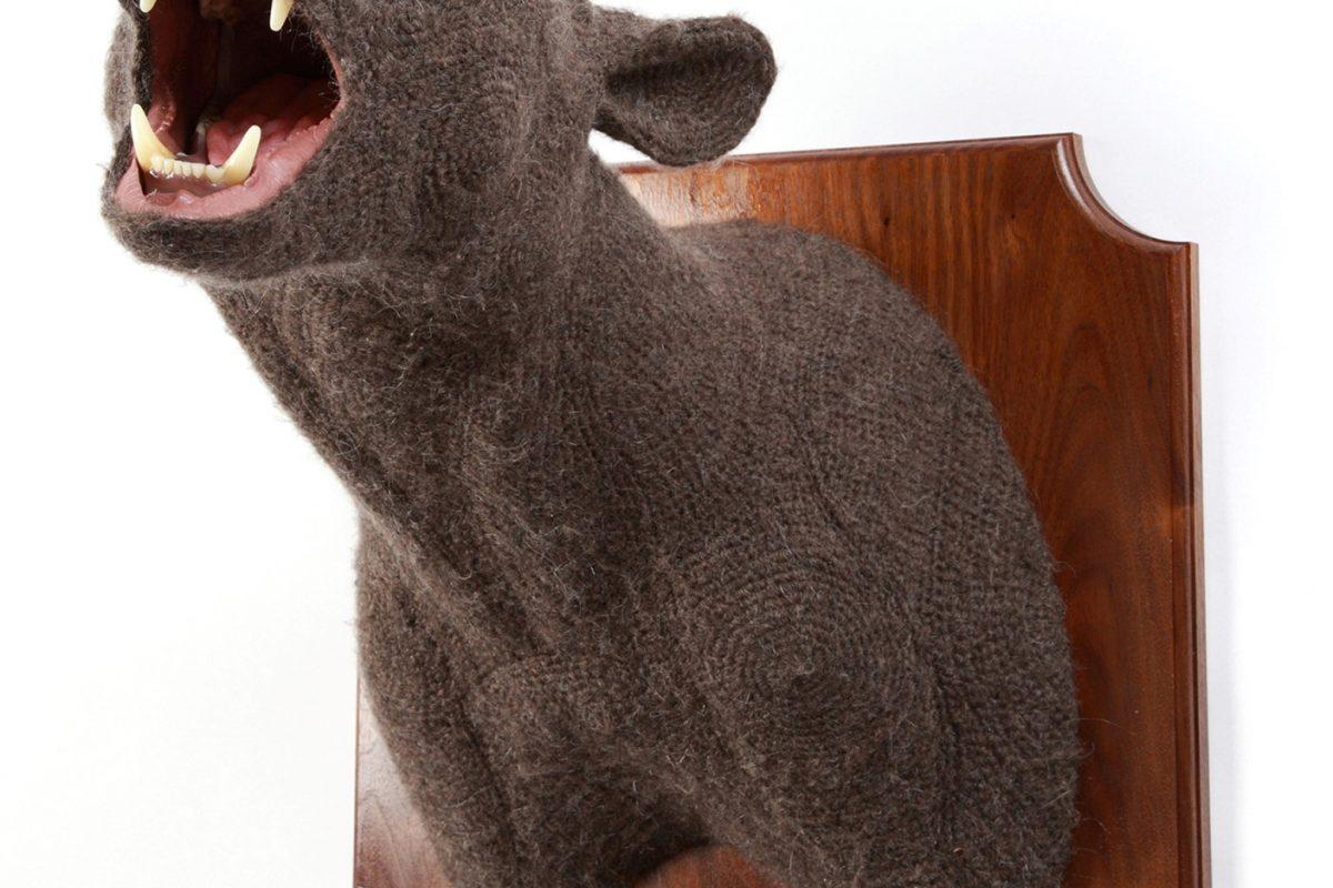 knit sculpture of bear head
