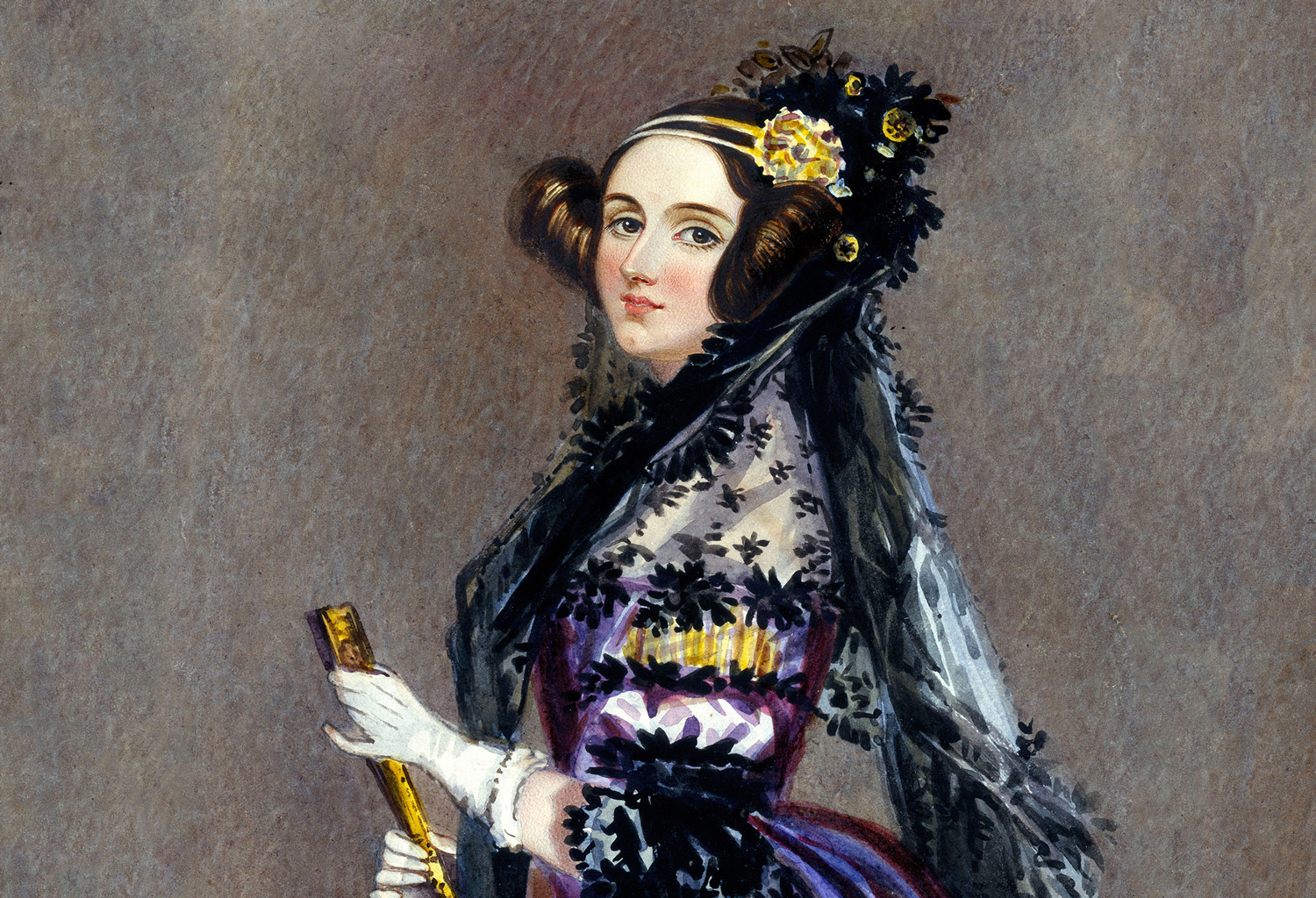 Painting of woman in period dress holding a fan