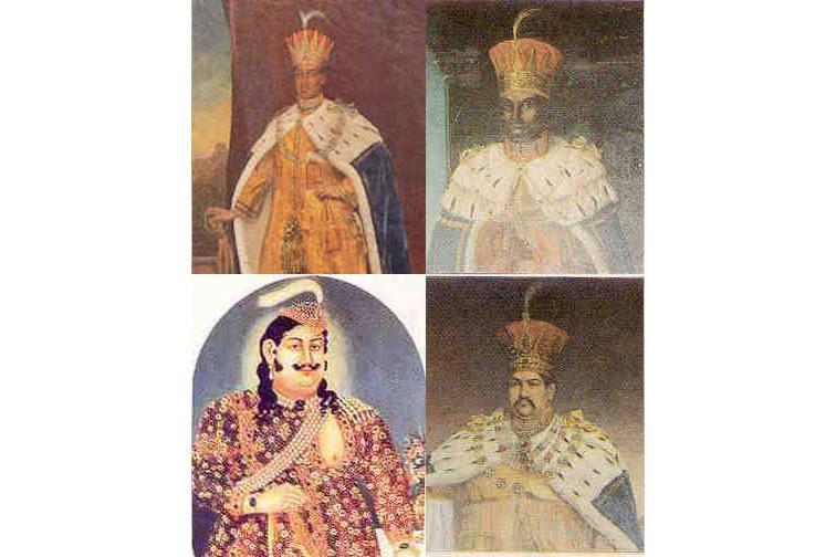 Four kings wearing ornate garments