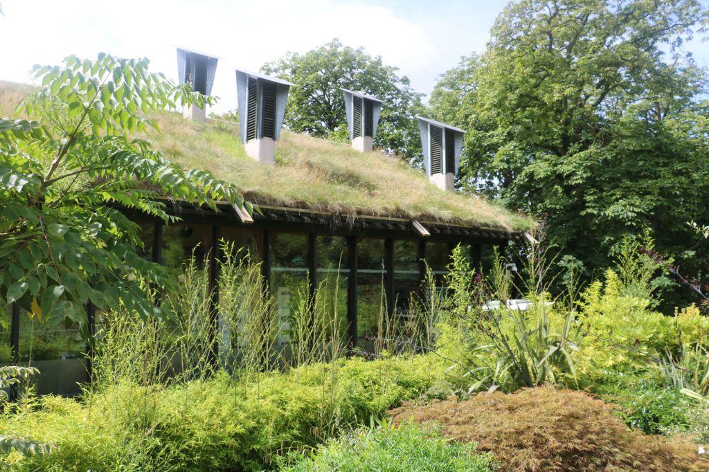 A green roofed building with long glass windows all around. In front is a bed of plants and shrubs, making the whole picture look green and lush