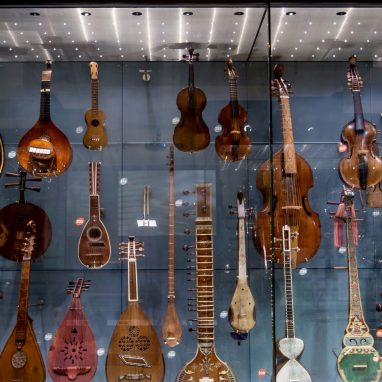 A display behind glass of many stringed instruments, including violins, sitars and lyres.