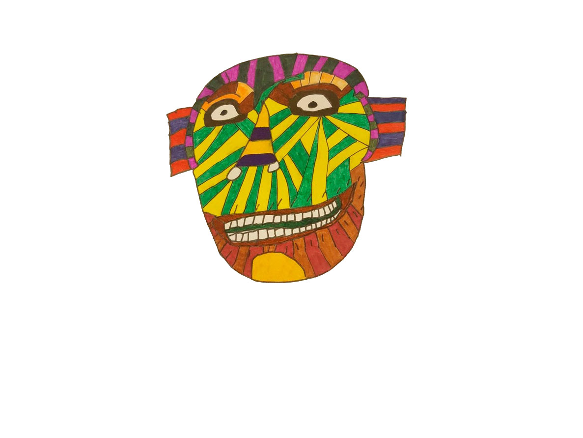 A brightly colourful drawing of a mask of a face, with mouth open and teeth visible.