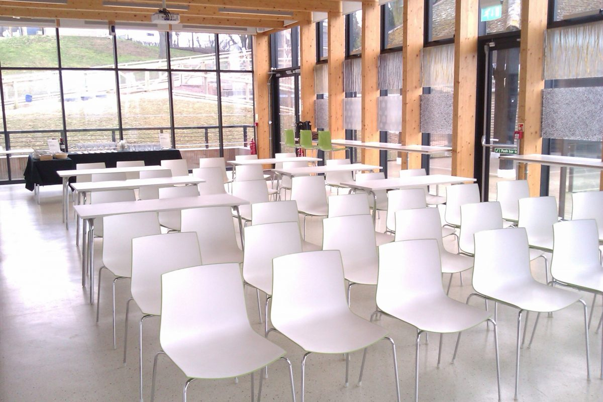 A light room is full of white chairs all facing towards the camera. The room has floor to ceiling glass windows at the back and side that is visible, with some greenery just seen outside