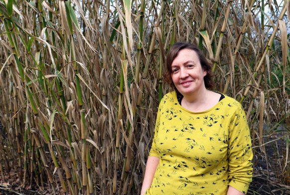 A woman in a yellow top stands in front of some bamboo and smiles at the camera