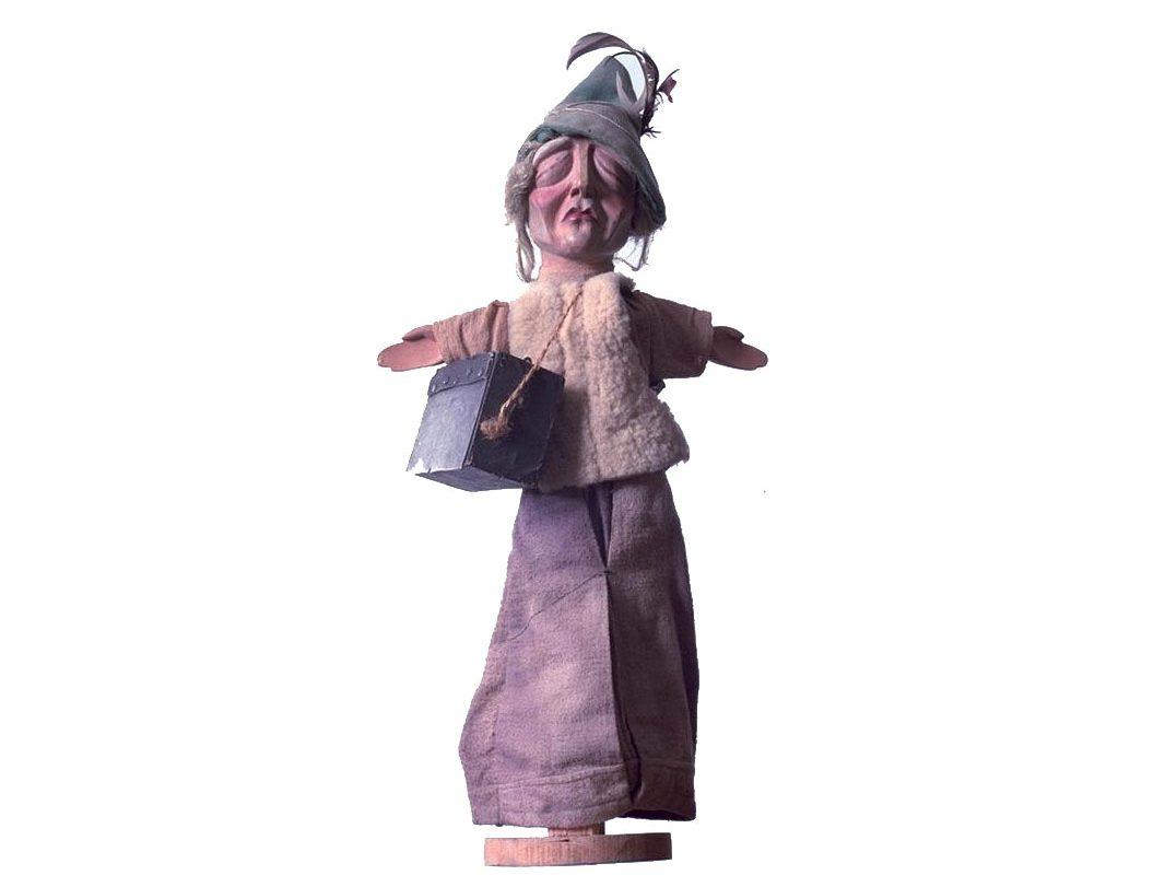 Glove puppet of blind musician