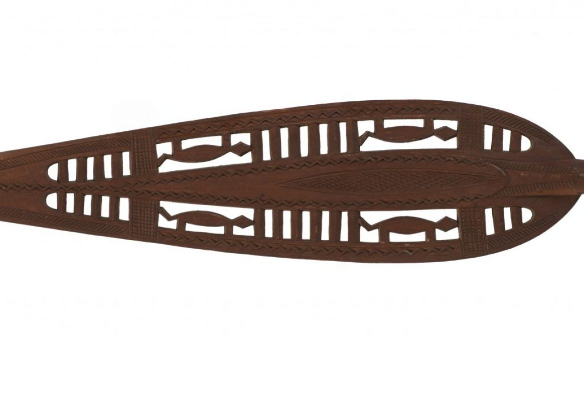 leaf shaped wooden paddle