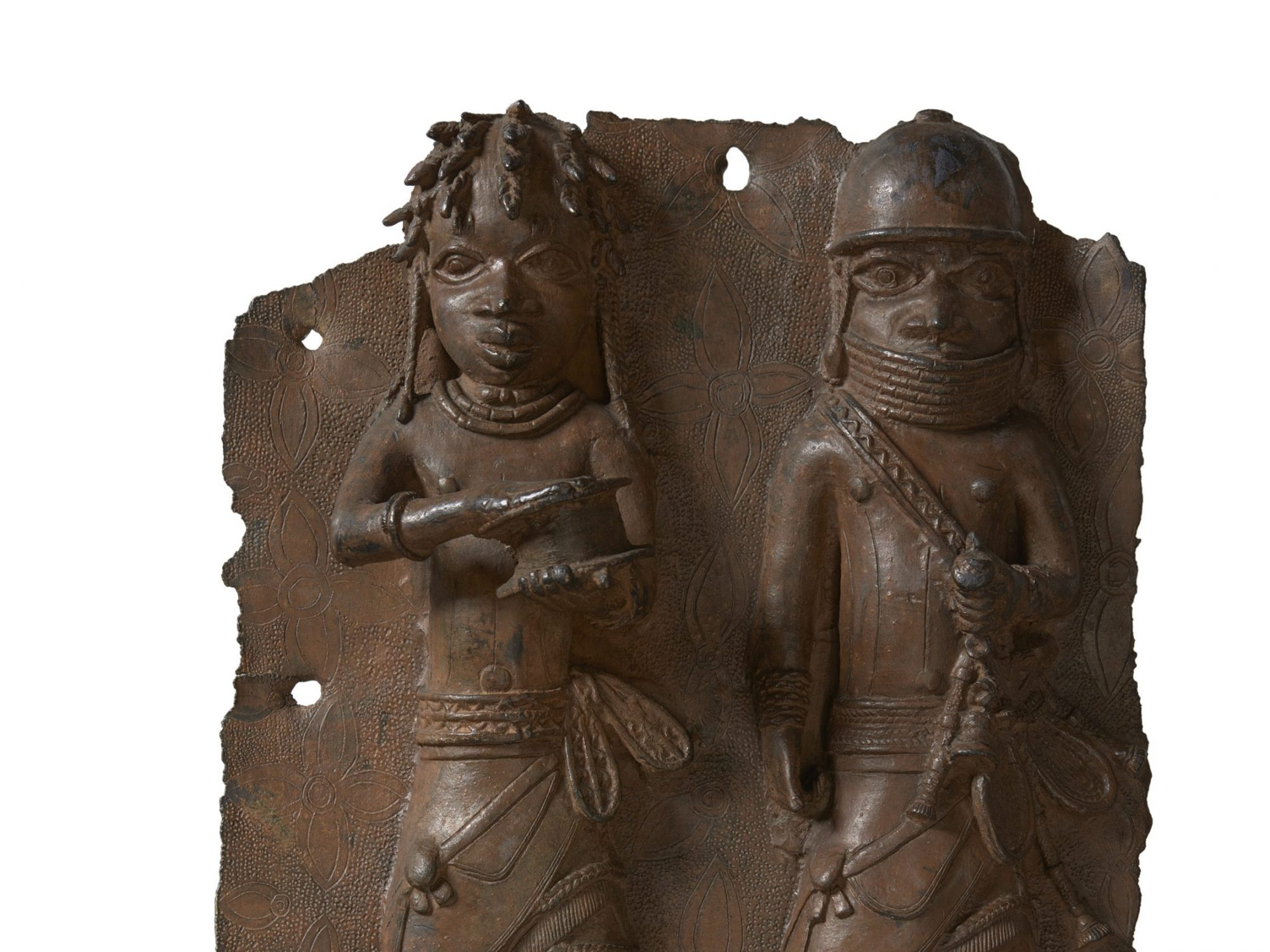Bronze plaque of two people