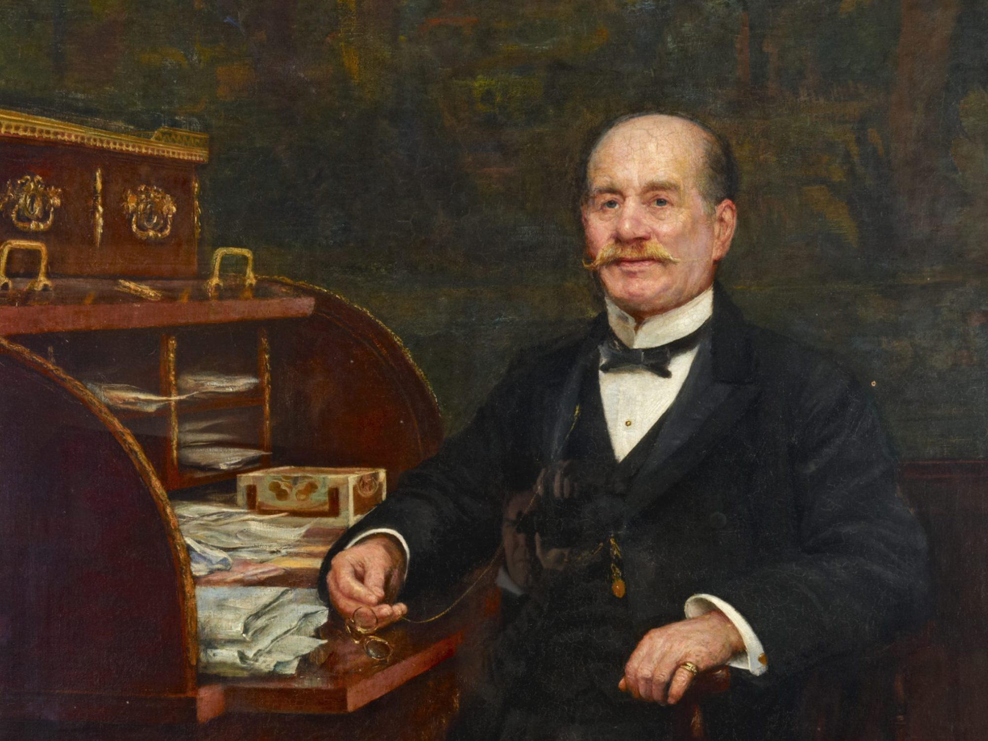 An oil painting of Frederick Horniman sat at a desk