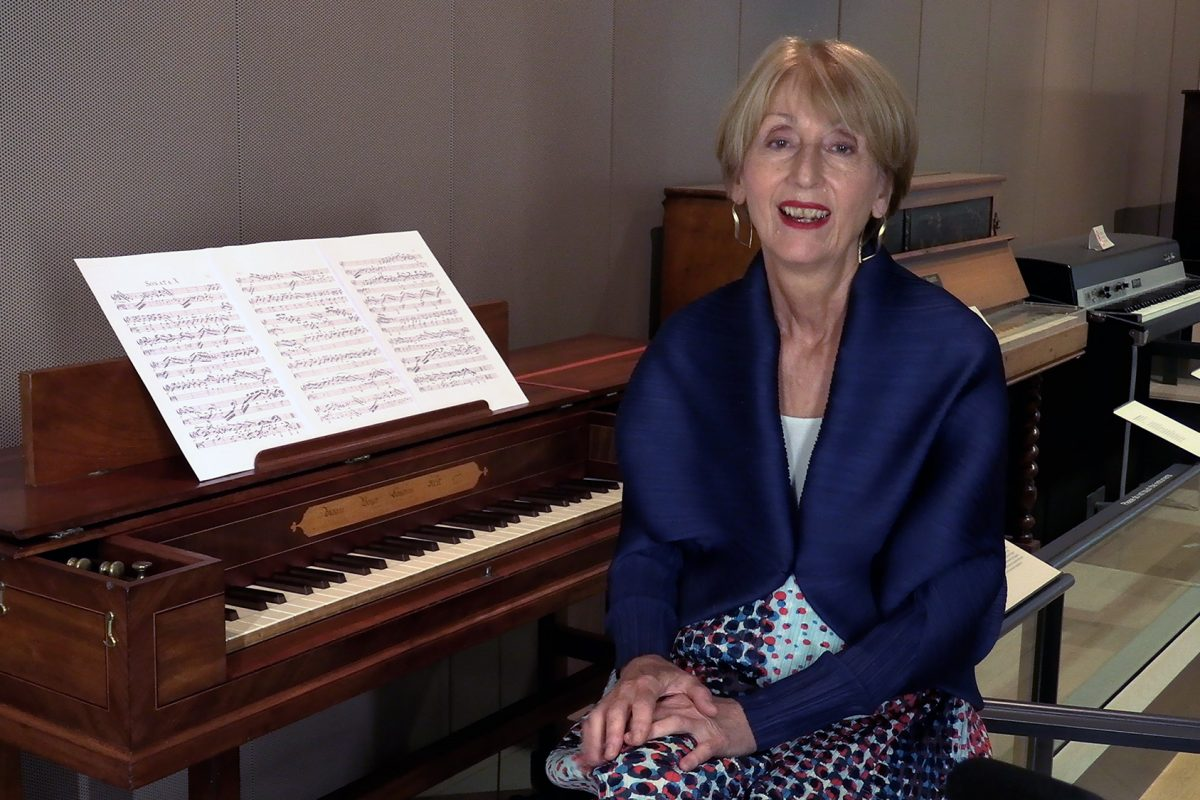 Linda Nicholson at square piano in the Music Gallery