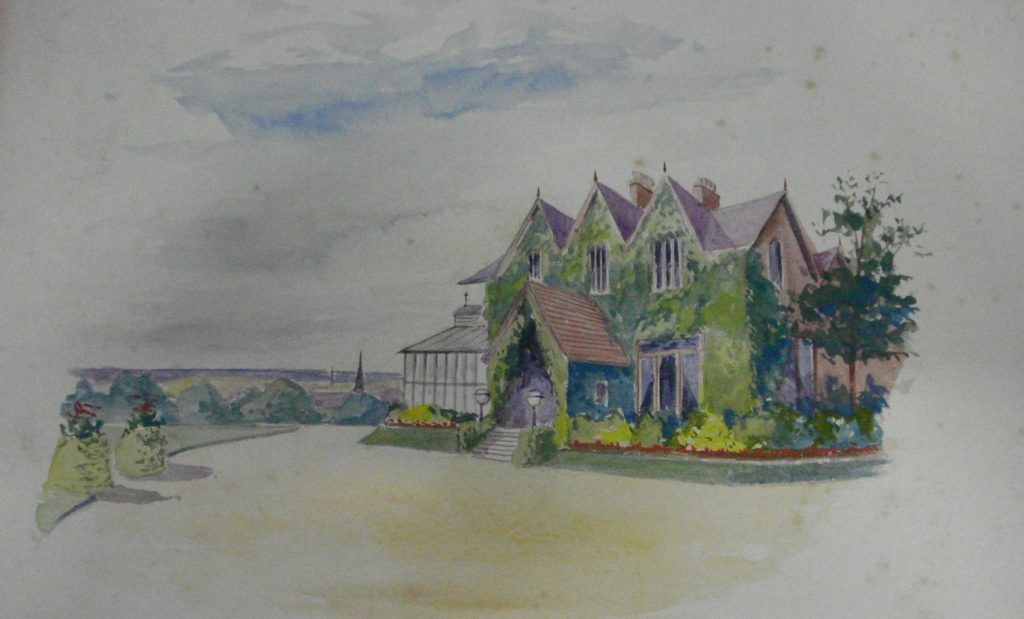 A watercolour drawing of a house on a green hill