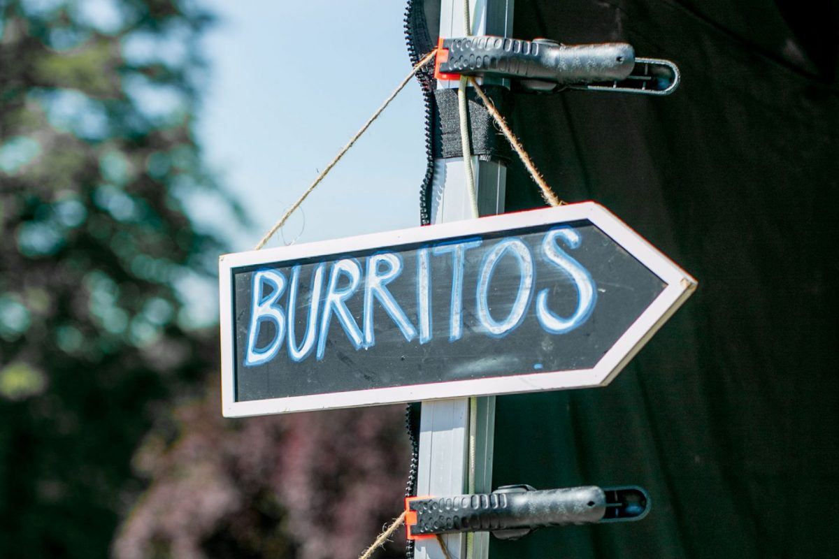 Signs hanging from a metal pole saying Burritos and quesadilla