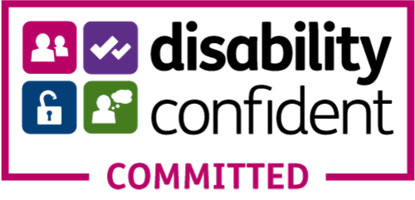 A logo in a maroon box saying disability confident committed and four icons with ticks, people, locks and a speech bubble